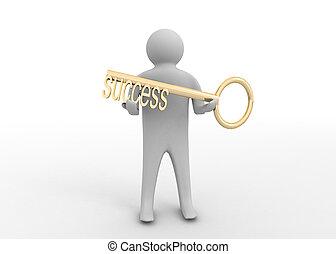 man, nyckel, framgång, 3