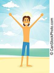Man Ocean Beach Happy Cartoon Hold Hands Up Summer