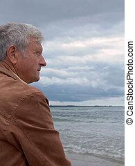 Man & Ocean - Elderly man overlooking the ocean
