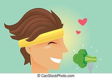 man, oefeningsband, broccoli