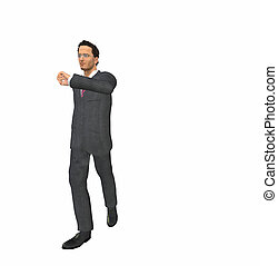 man of 3d character in suit checking the time