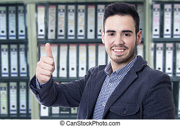 man of business smiling in attitude positive