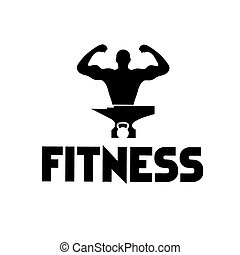 man of fitness silhouette character ,kettlebell and anvil
