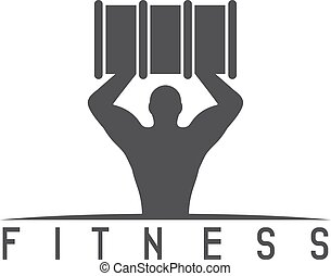 man of fitness silhouette character with barrel