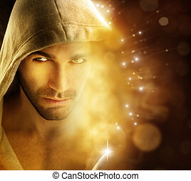 Man of light - Fantastical portriat of a handsome hero type ...