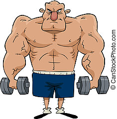 Man of muscle - Big man with dumbbells in hand vector...
