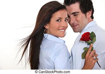 man, offergave, roos, om te, vrouw