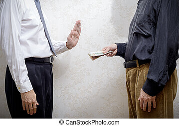 Man Offering  a Dollars bribe to a Man Refusing it