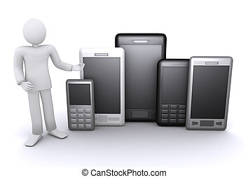 man offers a lot of mobile phones and smartphones 3d ...