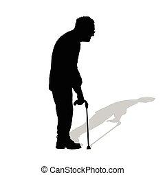 man old in black color illustration on white background