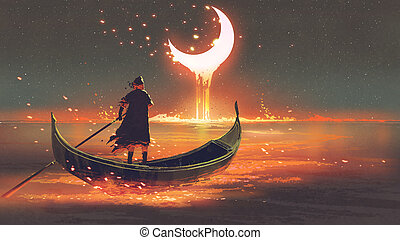 man on a boat looking at the melting moon - surreal concept...
