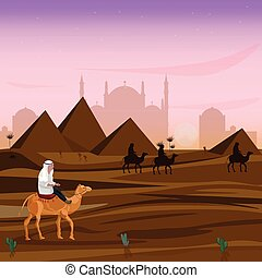 Man on a camel at sunset in Egypt desert Vector. Travel card cartoon illustrations
