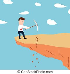 Man on a cliff edge digging ground - Illustration of a man...