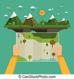 Man on a hiking trip holding a map