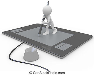 Man drawing on a huge graphics tablet