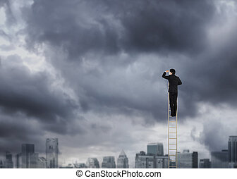 Man on a ladder looking ahead
