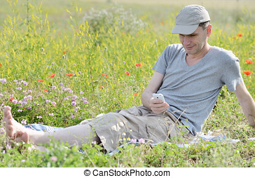 Man on a meadow