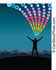 Man on a mountain top with circles vector background