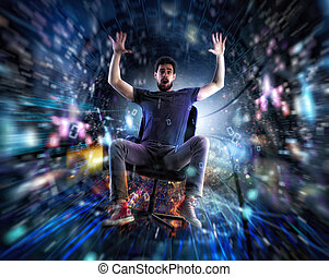 Man on a office chair go fast in a internet cable. Concept of fast internet and network connection