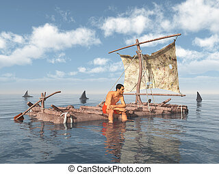Man on a raft surrounded by sharks - Computer generated 3D...