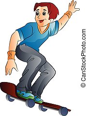 Man on a Skateboard, illustration