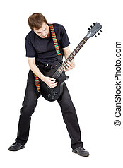 Man on a white background. Performer with an electric guitar