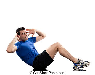 man on Abdominals rotation workout posture on white background.  This exercise engages the oblique abdominal muscles. Start with one leg bent and the other one straight, neither one touching the floo