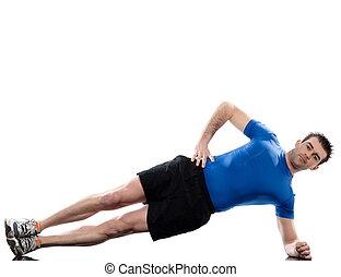 man on Abdominals workout posture on white backgroun