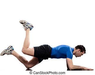 man on Abdominals workout posture on white background. Plank Bent Leg Rais
