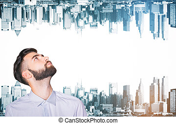 Man on abstract city background