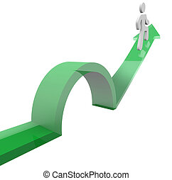 Man on Arrow Jumping Over Object Avoiding Problem