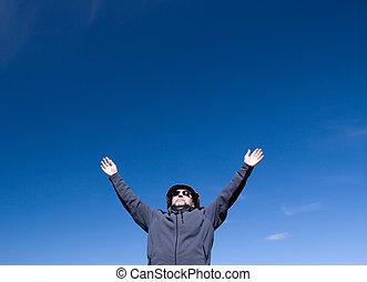 man on background blue sky