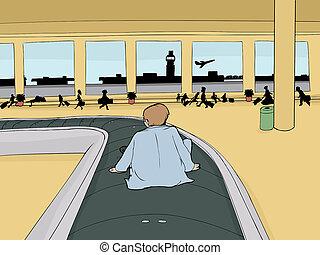 Man on Baggage Carousel