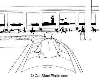 Man on Baggage Carousel Outline
