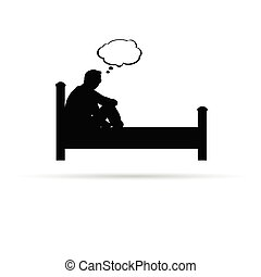 man on bed black vector silhouette