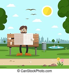 Man on Bench in City Park. Vector Flat Design Cartoon.