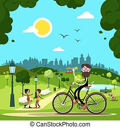 Man on Bicycle in City Park with People and Dog on Background. Vector.