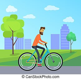 Man on Bicycle in Park Vector Illustration