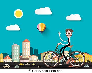 Man on Bicycle in the City with Small Cars. Vector Flat Cartoon.