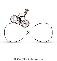 Man on Bicycle on Infinite Road Symbol
