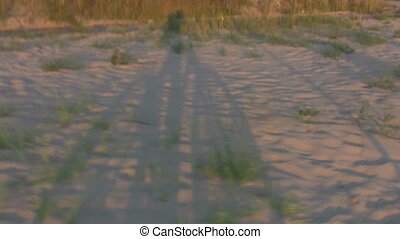 Man on Bicycle silhouettes on sand