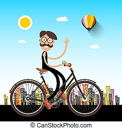 Man on Bicycle with City on Background