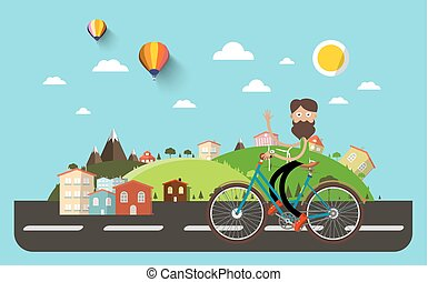Man on Bicycle with Flat Design Abstract Landscape on Background