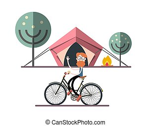 Man on Bicycle with Tent, Fire and Trees on Background. Adventure Camping Vector Flat Design Illustration.