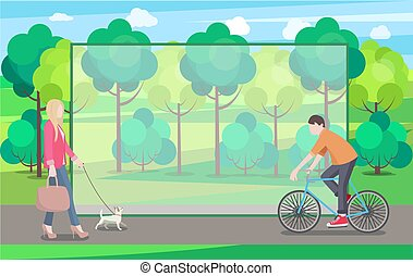 Man on Bike and Woman with Small Dog In Green Park