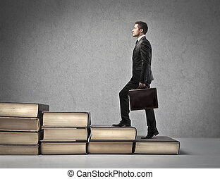 Man on books