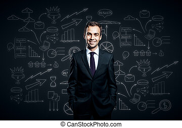 Man on business sketch background