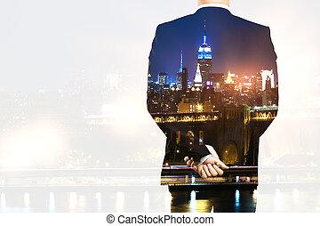 Man on city background