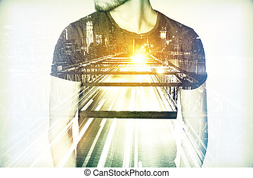 Man on city background