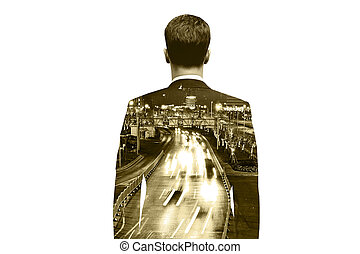 Man on city road background